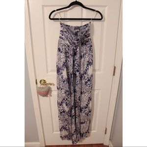 navy & white maxi dress